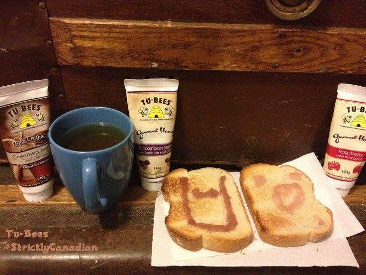 My midnight snack original in my tea Saskatoon Berries and Raspberries on toast