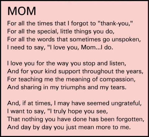To My Mother who had already gone to be with the Lord.I Love you Mama.
