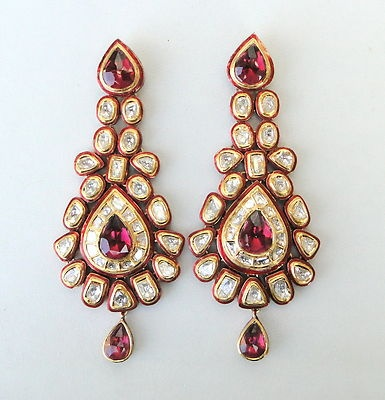Vintage Antique 20K Gold Diamond Polki Kundan Enamel MEENAKARI Work Earring Pair | eBay