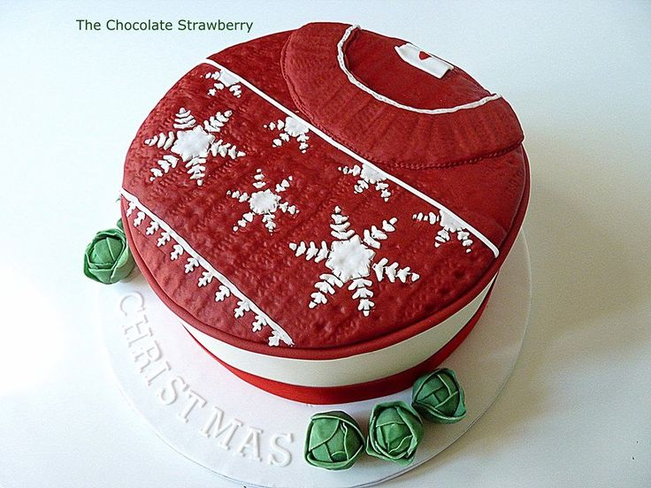#FondantFriday - Christmas Jumper Cake • CakeJournal.com: Sweaters Cakes, Christmas Cakes, Jumpers Cakes, Cakes Inspiration, Holidays Cakes, Christmas Sweaters, Chocolates Strawberries, Parties Cakes, Christmas Jumpers