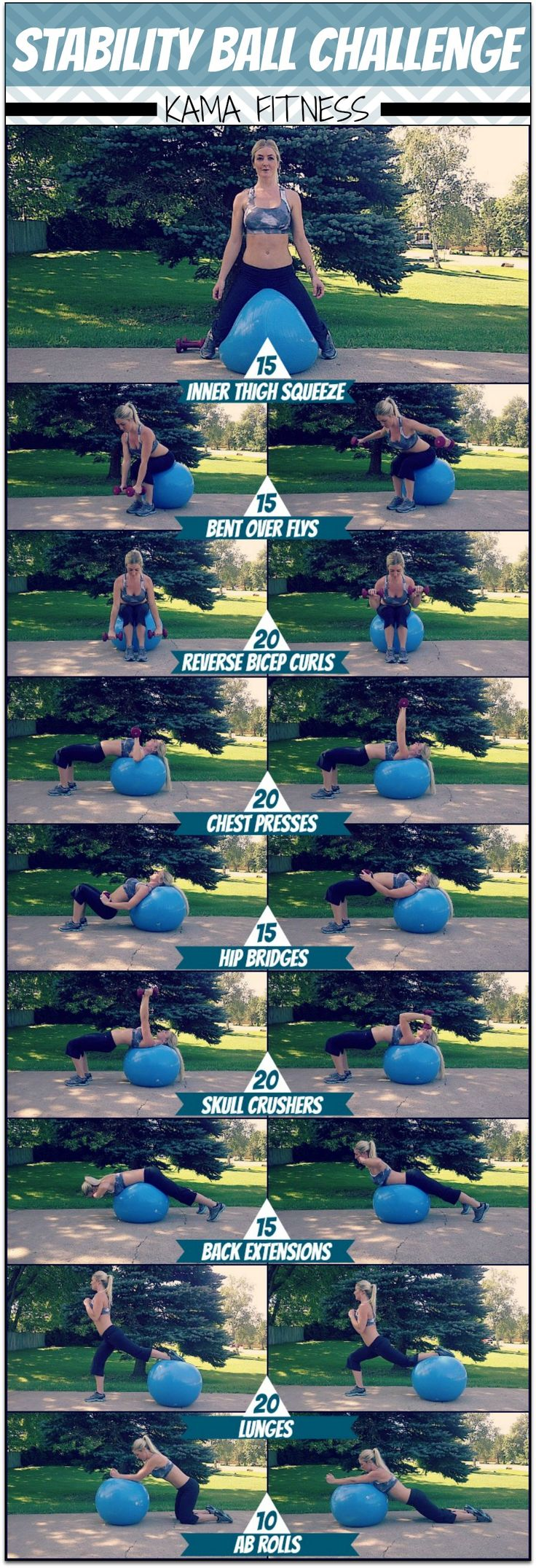 Stability Ball Challenge { with dumbbells } (KAMA FITNESS)
