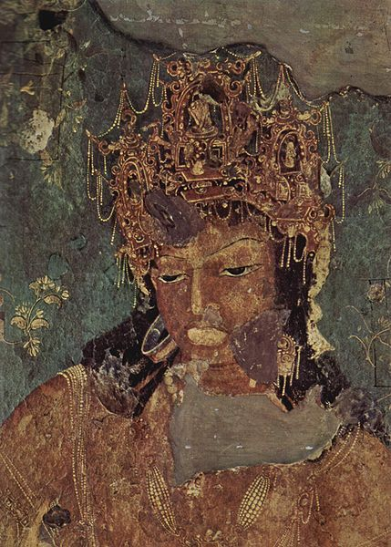 Painting of  Vajrapani from Cave No. 1, the Ajanta Caves, late fifth CE.