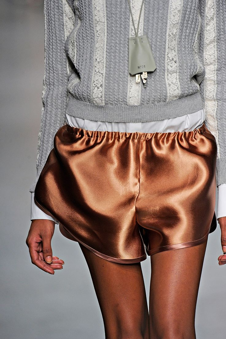 copper silk shorts
