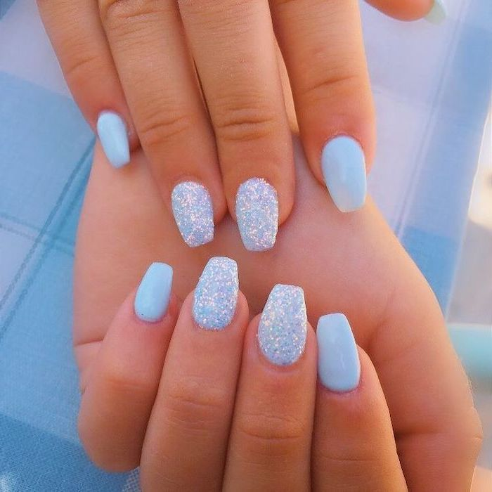 Nail Color Ideas Blue Nail Polish Blue Glitter Blue Background In 2020 Cute Summer Nail Designs Cute Summer Nails Sky Blue Nails