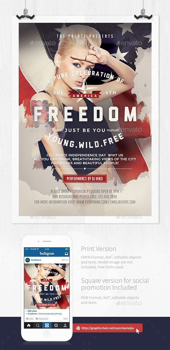 July 4th Independence Day Flyer Template u2014 Photoshop PSD #Veterans - independence day flyer