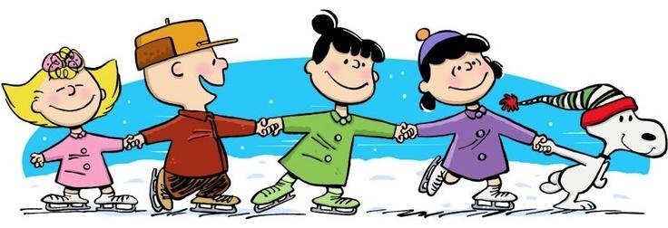 Peanuts and Snoopy cartoon ice-skating via www.Facebook.com/Snoopy