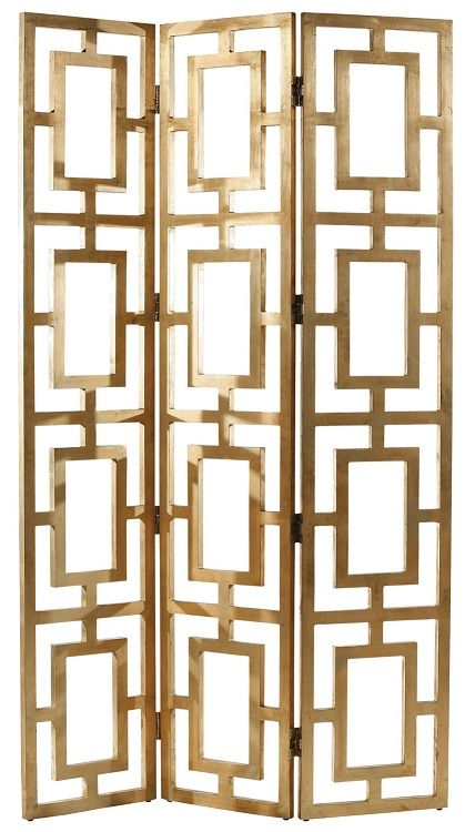 Designer Gold Guilded Screen / Room Divider, sharing luxury designer home decor inspirations and ideas for beautiful living rooms, dinning rooms, bedrooms & bathrooms inc furniture, chandeliers, table lamps, mirrors, art, vases, trays, pillows & accessories courtesy of InStyle Decor Beverly Hills enjoy & happy pinning