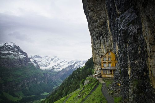 What a great place to build a house:  Drop-Off, Dreams Houses, Dreams Home, The View, The Edge, Yellow Houses, Swiss Alps, Mountain Houses, Mountain Home