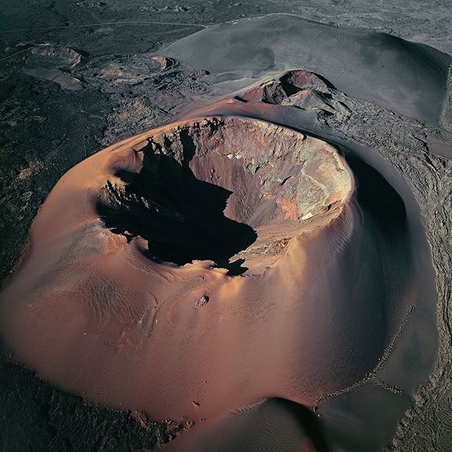 Aerial View Of The Montañas Del Fuego Lanzarote Canary Islands Spain Iron Minerals Give The Old Volcanic Geology Aerial Views Landscape Earth Photography