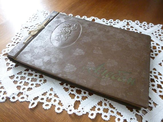 Vintage Russian Photo Album embossed cover with Cyrllic