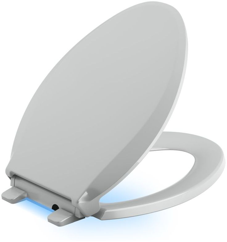 Kohler K-75796 Cachet Elongated Closed Front Toilet Seat with Nightlight Quiet- Ice Grey Accessory Toilet Seat Elongated
