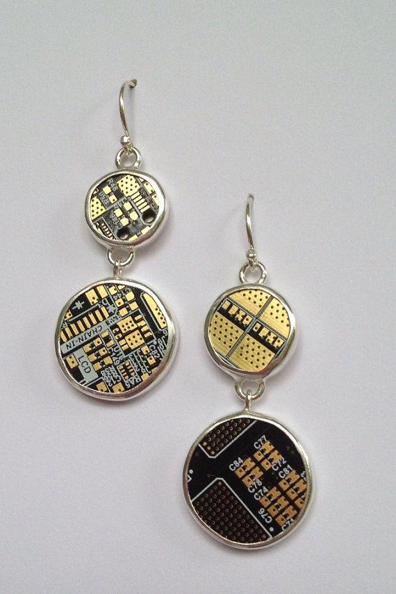Sterling silver BFL bitcoin miner PCB board earrings, By Rachel Drake