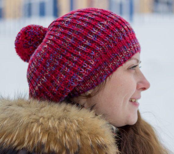 Hand knit beret Women knit hat Slouchy beret Red by MarooSocks