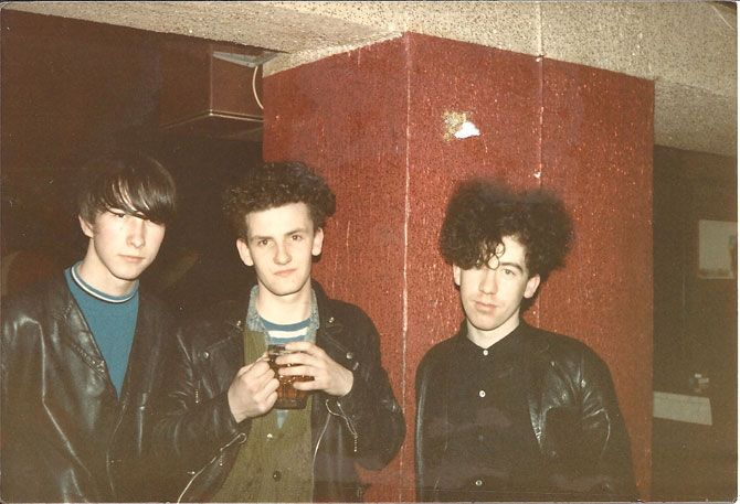 The Jesus and Mary Chain lineup shot by Valerie Hicks, 1985, in Sam Knee's book A Scene In Between
