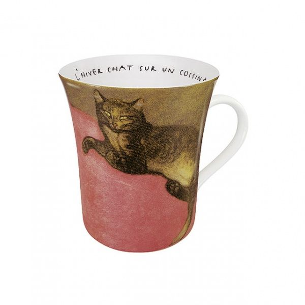 Les Chats Dans L'Art- Cat Porcelain Mug: Steinlen (red)