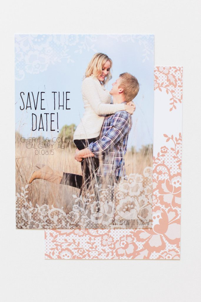 Lace Save the Date Card // Personalize this photo save the date to match your wedding's colours #rustic #vintage #wedding // www.ivystripe.com