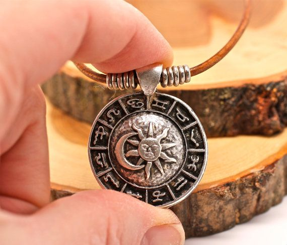 Silver Necklace Horoscope Necklace Mens by amyfinedesign on Etsy