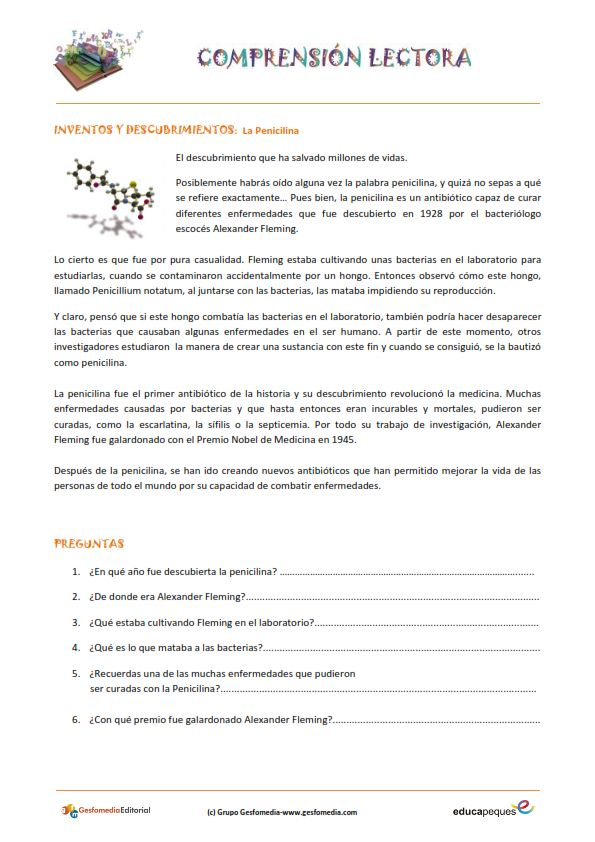 Fichas de compresión lectora para primaria: La penicilina