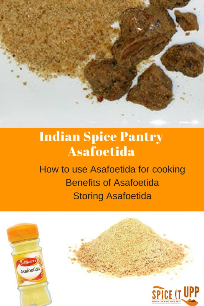 A complete spice guide on Asafoedita. How to use spices for cooking, storing buying spices and benefits of spices for everyday cooking. Asafoetida has many health benefits and is a great alternative to onion and garlic. It's is also a good gluten- free spice.