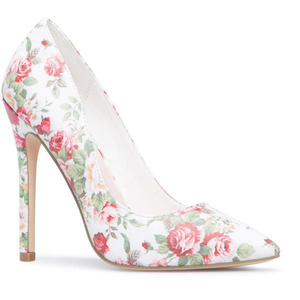 ShoeDazzle Pumps Elizabeth Womens Floral ❤ liked on Polyvore featuring shoes, pumps, floral, flower print pumps, pointed toe pumps, floral pattern shoes, pointy toe shoes and flower pattern shoes