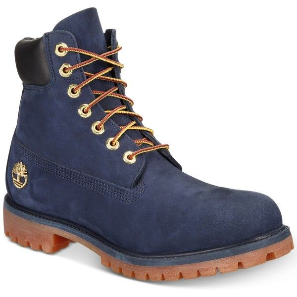 """Timberland Men's 6\"""" Boot, Created for Macy's (10.725 RUB) ❤ liked on Polyvore featuring men's fashion, men's shoes, men's boots, navy, mens boots, mens waterproof boots, navy blue mens shoes, mens shoes and timberland mens shoes"""