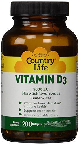 Country Life Vitamin D3 5000 I.U., 200-Softgel *** You can get more details at http://www.amazon.com/gp/product/B002J0PDZG/?tag=homeimprtip08-20&phi=100816223917