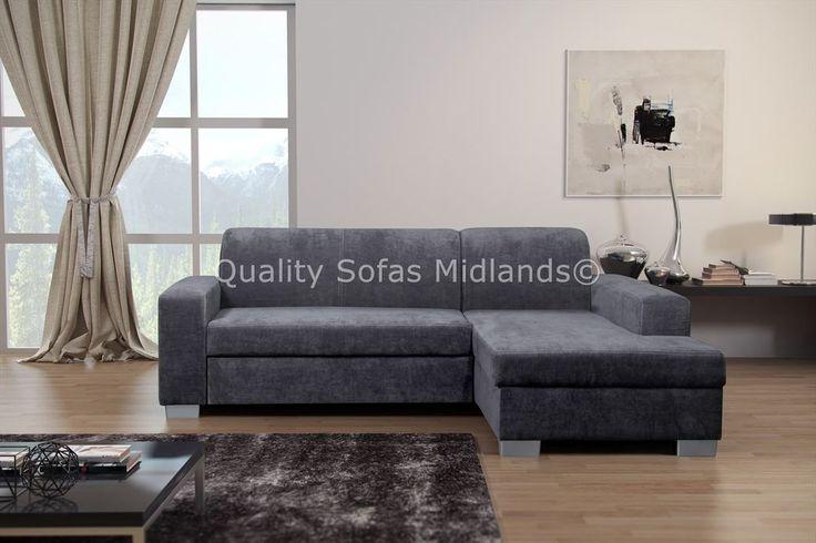 Miami Grey Fabric Corner Sofa Bed With Storage - RH