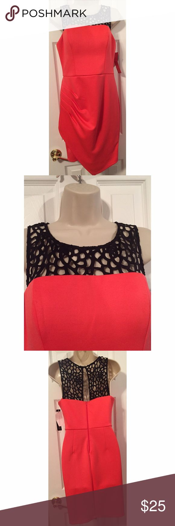 NWT Sequin Hearts Asymmetrical Dress This sexy dress retails for $69! Bright orange with gathering on the side, an asymmetrical skirt, and flattering black lattice chest, it's perfect for the club or bar! Sequin Hearts Dresses Asymmetrical