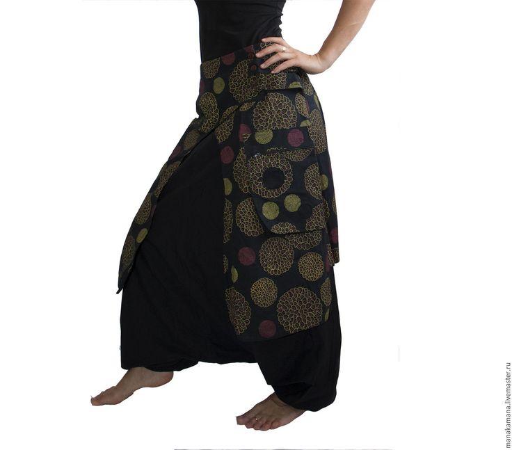 Купить Штаны афгани c юбкой - черный, абстрактный, бохо, шанти, субкультуры, зуавы, аладдин