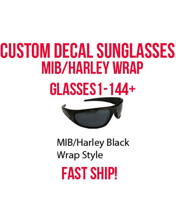 MIB Harley Wraparound Glasses- Custom Decal Sunglasses - Theme Parties, college party, party goods, 80's parties, theme parties, Fast Ship