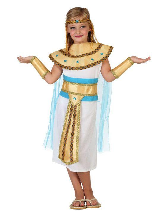Disfraz de egipcia del Nilo niña: Este disfraz de egipcia es para niña e incluye vestido, cuello, diadema, cinturón y manguitos (zapatos no incluidos).El vestido es blanco y sin mangas con efecto terciopelo. En los...