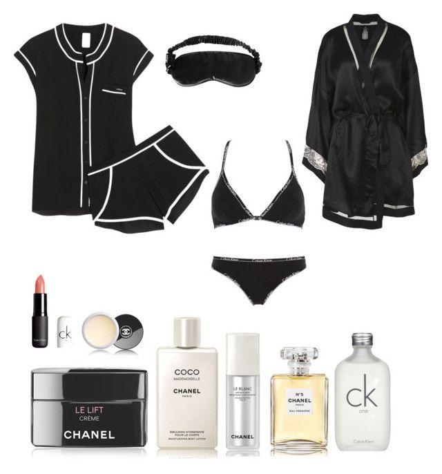 """Black night sleep"" by charoen ❤ liked on Polyvore featuring Calvin Klein Underwear, Slip, Chanel and Calvin Klein"