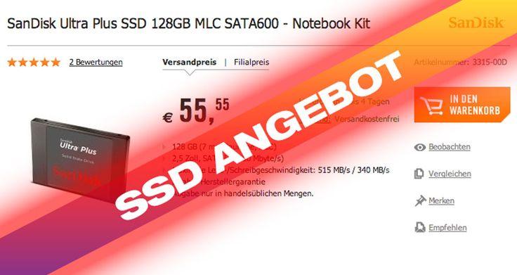 SSDs billiger: 128GB SSD für 55 Euro! - http://apfeleimer.de/2014/01/ssds-billiger-128gb-ssd-fuer-55-euro - 128 GB SSD für 55 Euro! Im Weekend Deal von Cyberport findet sich aktuell die SanDisk Ultra Plus SSD 128GB für günstige 55 Euro im Angebot. Im direkten Vergleich kostet das gleiche Modell bei Amazon fast 20 Prozent mehr!  Cyberport Weekend Deal mit SanDisk 128 GB SSD für 55,55 Eur...