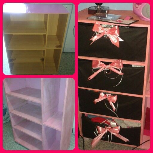 Old scruffy drawer unit beautified for princess daughter x