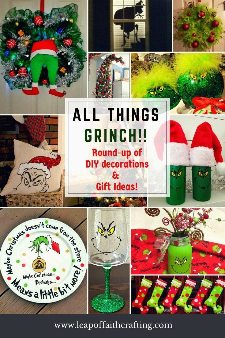 Grinch Diy Decorations And Craft Round Up Diy Grinch Decor Grinch Cricut Diy Christmas Decor Grinch Decorations Whoville Christmas Grinch Crafts