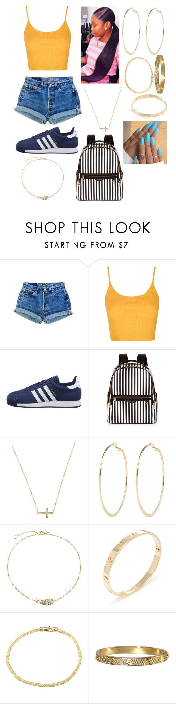 """""""Untitled #49"""" by isabelleeeeeeee ❤ liked on Polyvore featuring Topshop, adidas Originals, Henri Bendel, Lord & Taylor, River Island, Bling Jewelry, Cartier and A B Davis"""