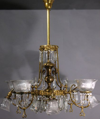 Circa 1885 44 gas electric aesthetic chandelier with prisms 9120 00