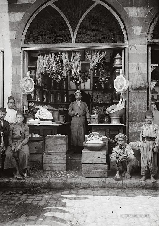 Grocer's shop. Jerusalem, Palestine 1900-1920