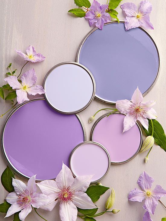"Purples (""Shades of Romance"") - from top right: Enchanted, Sweet Harbor, Faded Wisteria, Fragrant Flower, and Water Lily."