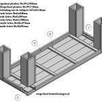 Bouwtekening met details van de steigerhout tafel XL.
