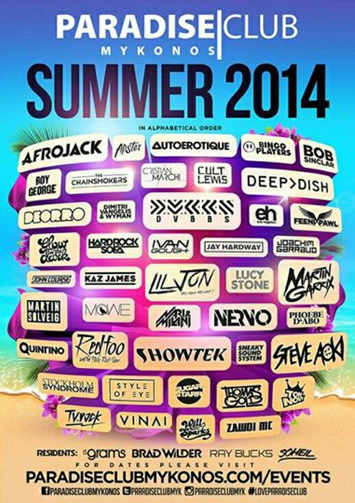 Paradise Club Mykonos 2014 line-up