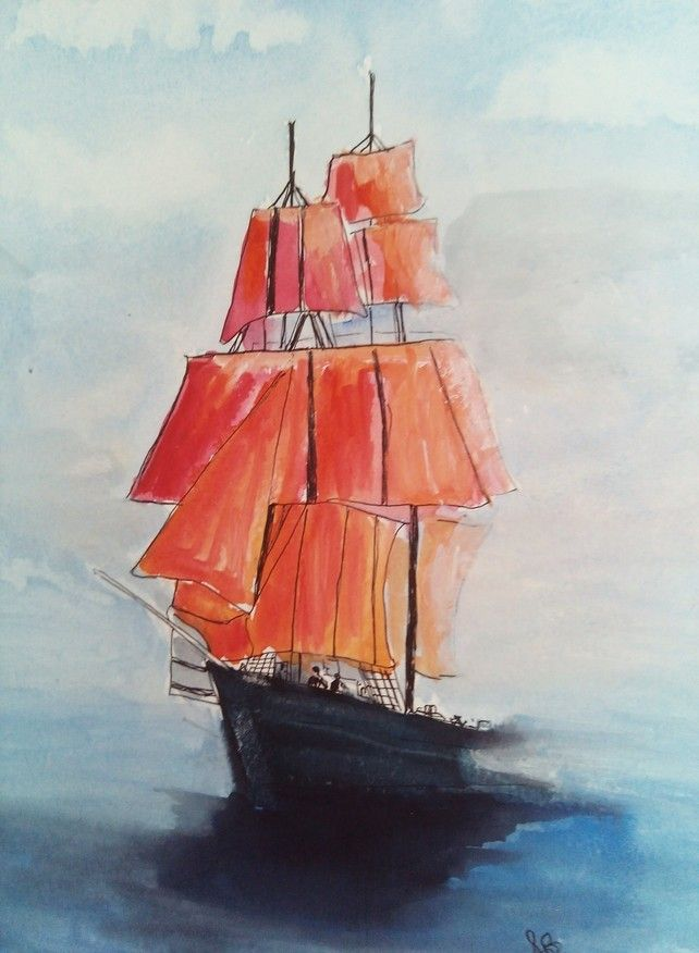 Cutter Ship Beaking Free OF The Mist, Red Sailes, Original Seascape Painting,  £28.00