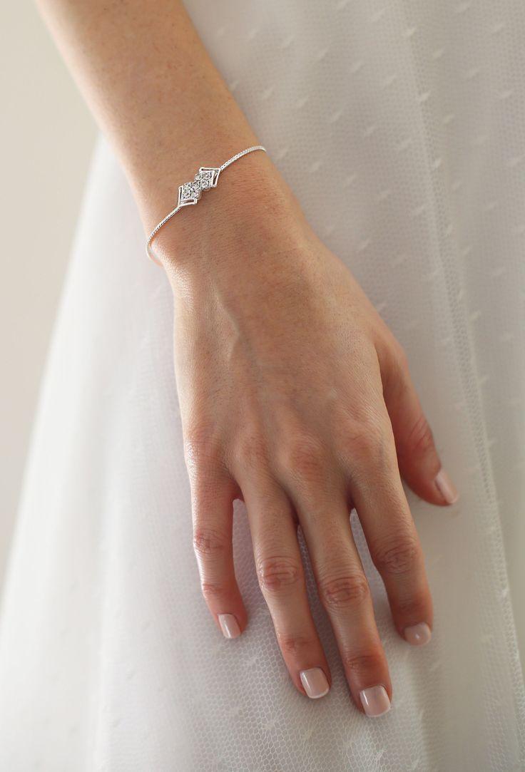 Delicate bracelet silver zirconia wedding Jewelry Bridal Jewelry