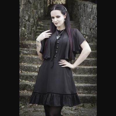 Imperia Cape Effect Black Gothic Dress by Spin Doctor