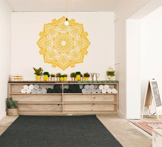 Large Bohemian Flower Mandala Decal for Living Room, Dorm, Yoga, Studio, Home or Bedroom