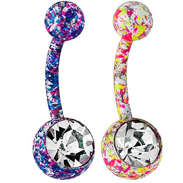 FreshTrends CZ Neon Paint Splatter Belly Button Ring