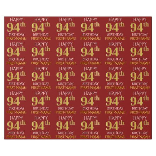 Red Faux Gold HAPPY 94th BIRTHDAY Wrapping Paper
