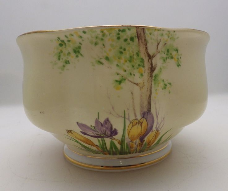 Royal Albert Crown China Bowl. Pretty china bowl with crocus design around outside and tree detail inside, gilt around rim and base. Approx measurements 11 cm diameter, 7.5 cm high. The Hospice aims to bring peace, comfort and dignity to patients and families facing the crisis of serious illness. | eBay!