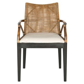 Brimming With Exotic Style, This Chic Mahogany Wood Arm Chair Showcases A  Woven Back And Cushioned Seat. Product: ChairConstruction Material: CA  Foam, ...