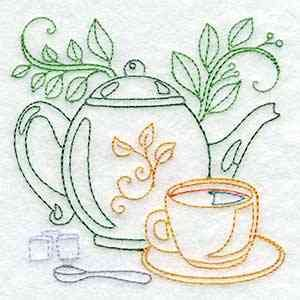 Buy Individual Embroidery Designs from the set Line Art Tea Pots one cup tea